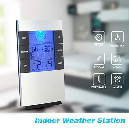 Souarts Digital Thermometer Temperatur Luftfeuchtigkeit Meter Hygrometer Wecker Zeit mit Uhr Datum und Wecker 8x13.6x2cm