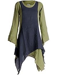 Vishes - Alternative Bekleidung – Langärmliges Zipfeliges Lagenlook Kleid / Tunika aus handgewebter Baumwolle