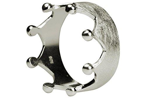 SILBERMOOS XL XXL Silberringe in großen Größen Damenring Krone Kronenring gebürstet Größe 64, 66, 68, 70 Sterling Silber 925, Größe:64 (20.4)