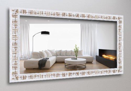WANDStyle WS-H630-023 Wand Spiegel 50 x 100 cm Landhaus Weiß Nussbaum Shabby Chic Massivholz Kiefer