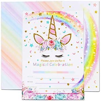 AMZTM Cartes d'Invitation avec Enveloppes pour Baby Shower Anniversaire Fille Enfant Décorations ...