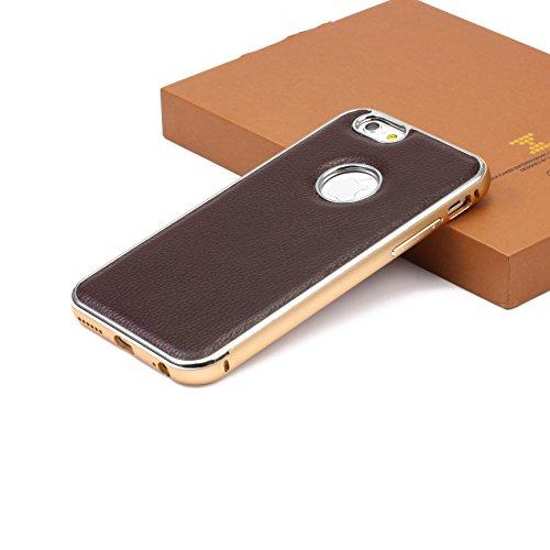 iPhone 6 / 6s Coque, XoomZ Metal Litchi Pattern Case Étui Arrière Simili Cuir + Bumper Aluminium Café Housse Apple iPhone 6 / 6s Téléphone Café