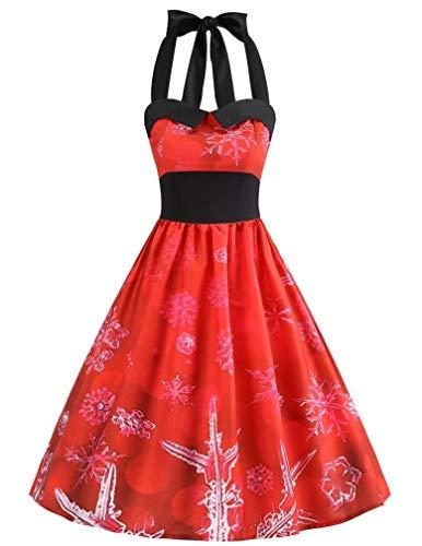 LeaLac Damen beiläufige baumwolle mit hohen taille halter weinlese v-ausschnitt, ärmellos weihnachten halloween plus size swing-kleid l208- us 8 = (tag l) d3073 (Weihnachten Plus Size)