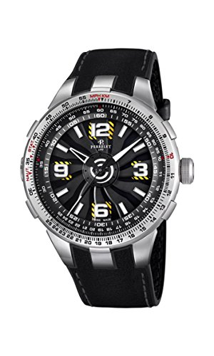 Perrelet Turbine Pilot Men's Automatic Watch with Black Dial Analogue Display and Black Leather Strap A1085/1A