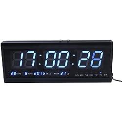 zjchao Géante Horloge Murale LED Numérique Digitale à Pile Bouton en Métal pour Bureau Salon Cuisine avec Calendar et Température, Taille - 48 x 5 x 18.5 cm - Bleu