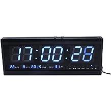 Reloj de pared grande Azul LED Digital alarma del reloj temporizador de la batería con la temperatura del calendario 36 C