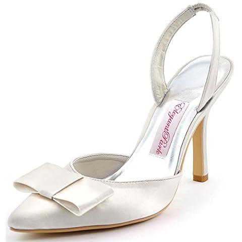 Elegantpark HC1404 Women Pointy Toe Sandals High Heels Slingback Bow Satin Wedding Party Court Shoes Ivory UK