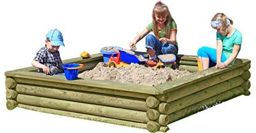 Gartenpirat Sandkasten 180x180 cm aus Rundholz Ø 10cm - Premiumqualität