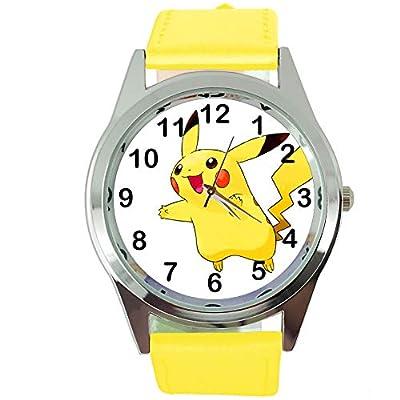 TAPORT® Pikachu Pokemon Reloj de cuarzo redondo correa de cuero amarillo + batería de repuesto + bolsa de regalo gratis por TAPORT®