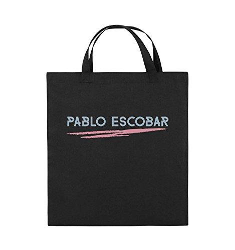 Comedy Bags - Pablo Escobar - NARCOS - Jutebeutel - kurze Henkel - 38x42cm - Farbe: Schwarz / Weiss-Neongrün Schwarz / Eisblau-Rosa