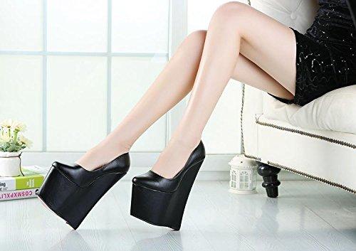 HeiSiMei Frauen High Heels / Keilabsätze / super hoch / kurze Stiefel / runde Zehe / Peep Toe Pumps / Nachtclub / Party & Abend / Herren / Unisex BLACK-EU46