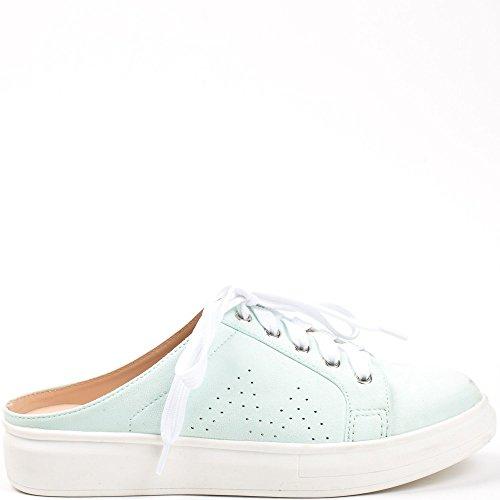 Ideal Shoes - Baskets style mules effet daim Venante Turquoise