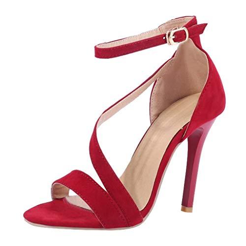 TPulling Damen Sandalen Super High Heel Sandalen Ankle Boots  Pantoletten Schuhe Sexy Stöckelschuhe Offene Zehen Sandalen