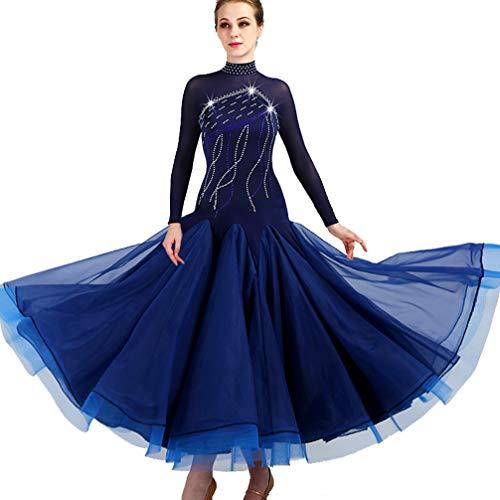 Frauen Standard Ballsaal Wettbewerb Kleider Königsblau Kostüme Für Frauen Performance Tango Walzer Modern Dance Dress Mit Strass Übergröße, XL (Übergröße Dance Kostüm)