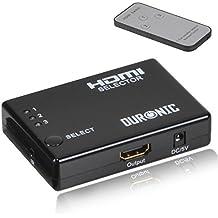 Duronic HRS1031 - Switch HDMI a 3 vie con telecomando (3 porte input 1 porta output)