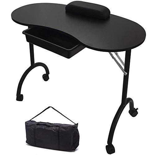 Raygar tavolo da manicure professionale pieghevole con borsa nero