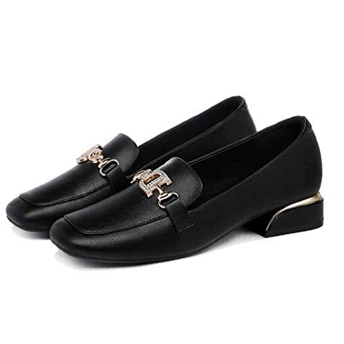 Frauen lässige Schuhe frühling und Herbst britischen Stil kleine Lederschuhe Metall zubehör Platz Ferse bequem und leicht zu tragen einzelne Schuhe Arbeit büro Kleid Schuhe