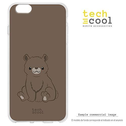 Funnytech® SchutzHülle Soft TPU Silikon Hülle Transparent für Xiaomi Mi 9 SE l Case, Cover, Handy, High Definition Druck [OSO Pardo Kawaii Fondo Marron]