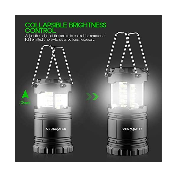 [2 PACK] Camping Lantern- Sahara Sailor Ultra Bright LED Lantern- Collapses - Suitable for: Hiking, Camping, Emergencies, Hurricanes, Outages - Super Bright - Lightweight - Water Resistant 2