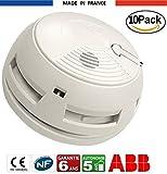 x10 Détecteur de fumée DAAF ABB Alarme Incendie Garantie 6 Ans, Autonomie 5 Ans, Fixation sur Mur ou Plafond, Chevilles, Vis et Pile (9V DC) fournies, Fabriqué en France, Certifié NF EN14604