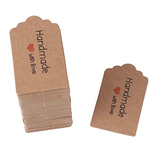 Yinhing Geschenkanhänger, 100 Stück Brown Rectangle Tags Weihnachten Tags Handmade Hang Label Hochzeit Gunsten Geschenk Dessert Tags Kleidung Schmuck Preisschild(# 5) 5 Dessert