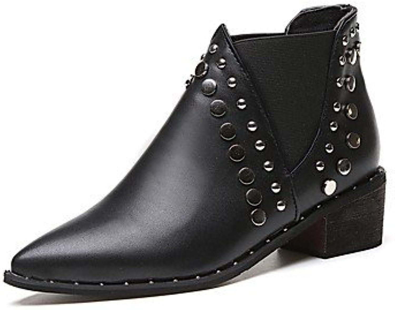 GLL&xuezi Mujer Botas Botas de Combate Zapatos formales PU Otoño Casual Vestido Paseo Cuentas Tacón Plano Negro...