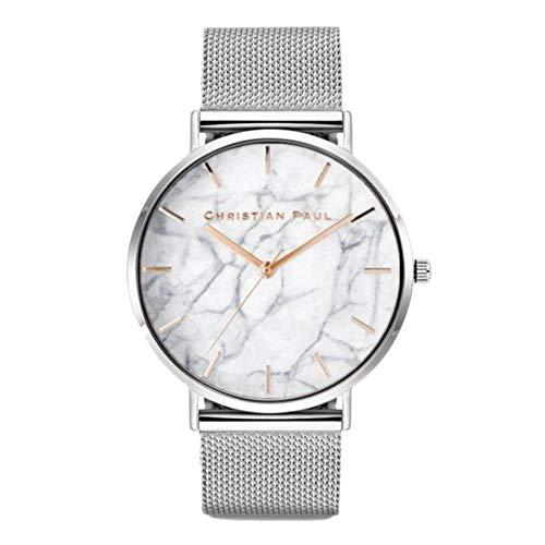 Comtervi Damen Armbanduhr Analog Quarz mit Mesharmband Marmoriertes Zifferblatt Aluminium Ultra-flach Slim-Uhr (silver)