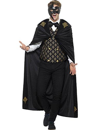 Smiffys Herren Kostüm Barock Maskenball Phantom Halloween Karneval (Kostüm Für Maskenball)