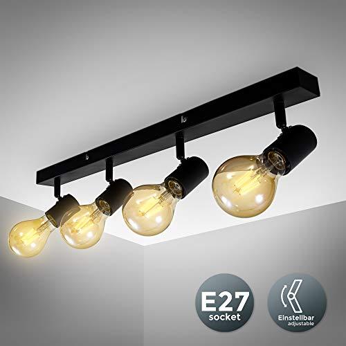 B.K.Licht - Lámpara de techo con 4 Focos ajustables y giratorios para interiores, forma recta en barra, requieren bombilla E27, max. 60 W, 230 V, índice de protección IP20, color negro