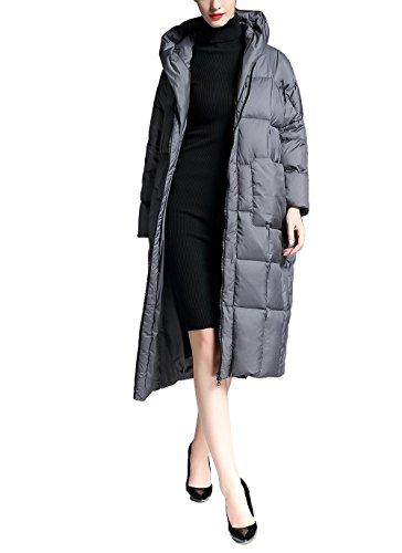 Wool Blend Trench (ZFANG Daunenjacke Frauen Mantel Baumwolle Langen Mantel Mit Kapuze Lose Jacke Winter Out Schnee Tag Warme Verdickte Jacke , gray , m)