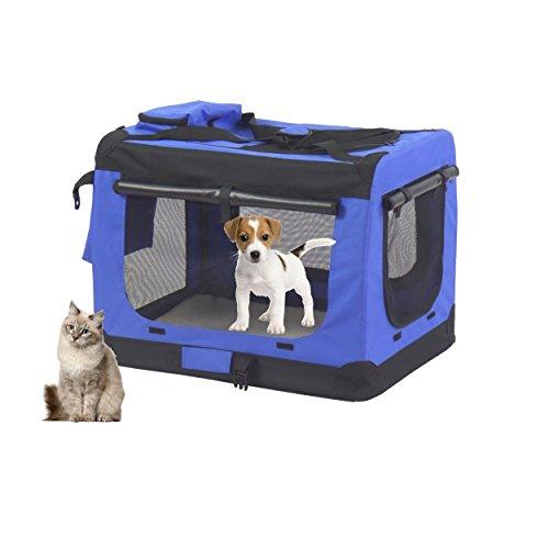 MC Star Hunde Transportbox Hundebox faltbar Reisebox Transporttasche für Haustiere, weiche Seitenteile ,Maße auswählbar- M,60 x 42 x 42 cm,(Schwarz,Blau)