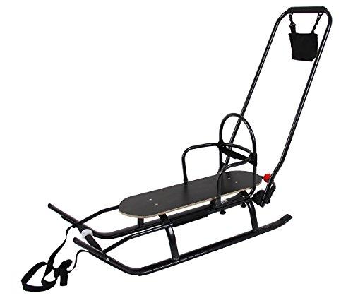 Clamaro \'Husky\' Alu Schlitten mit Lehne und Schiebestange (abnehmbar), belastbar bis 100 kg, Sport Rodel für Kinder und Erwachsene - Gestell: Schwarz