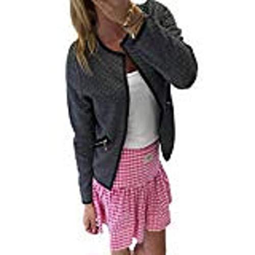 Tonsee Frauen Plaid Langarm Lattice Tartan Cardigan Top Mantel Jacke Outwear (38, schwarz) Tartan-plaid-mantel