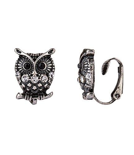 SIX Halloween Schmuck Damen Ohrring, Ohr Clip in silber, schwarz mit schwarzer Eule, Glitzer Strasssteine, ohne Ohrloch tragbar (434-307) (Kostüm Eule Machen)