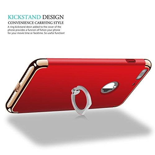 Custodia per iPhone 7 Plus,V-Simbo 3 in 1 ultra sottile di lusso custodia cover per iPhone 7 Plus (5.5) con rotazione a 360 gradi anello cavalletto(Rosso)