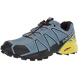 Salomon Speedcross 4, Zapatillas de Running para Hombre, Azul (Bluestone/Black/Sulphur Spring), 42 2/3 EU