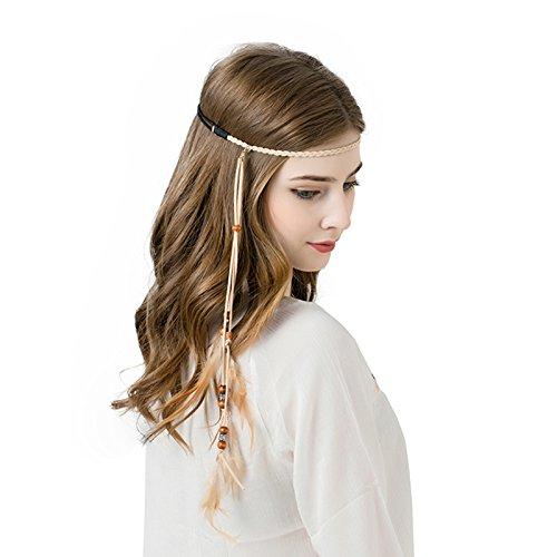 AWAYTR Bohemien Feder Haarband Hippie Haaretragen - Quaste Geflochten Feder Kopfschmuck Leder Seil für Frauen Festival Karneval Boho Haar Zubehör