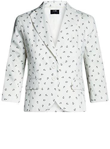 oodji Collection Donna Blazer Aderente in Cotone Bianco (3029O)
