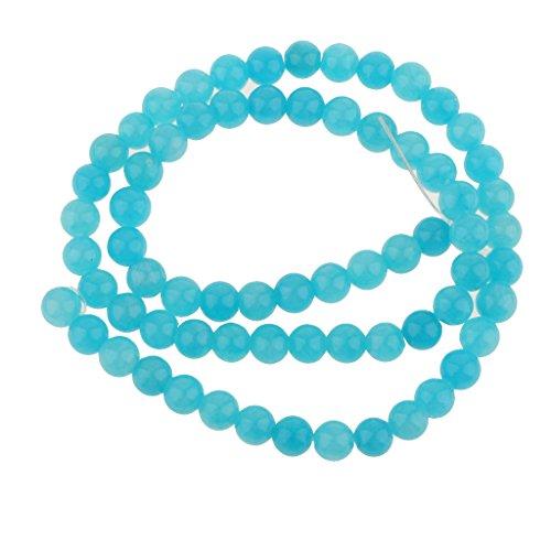Magideal 6 millimetri calcedonio blu rotondi della pietra preziosa perline filo allentato 15.5 pollici