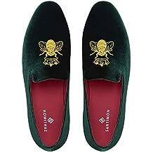 Mocasines Hombre Mocasín Zapatos de Vestir Moda Terciopelo Casual Slip-on Zapatillas para Hombre Bordado