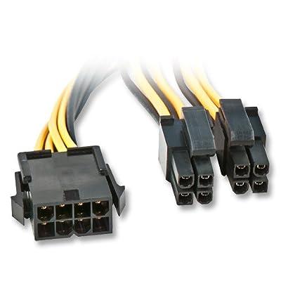 Lindy 33163 Cordon prolongateur d'alimentation Carte mère 8 pôles EPS12V / eATX / BTX 12V, 0,4 mètre, noir par Lindy