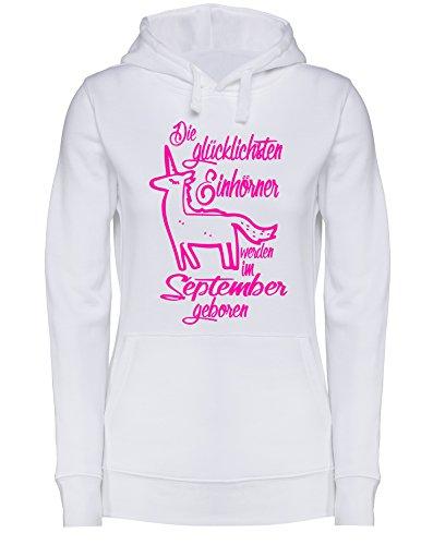 Die Glücklichsten Einhörner werden im September geboren! Perfektes Geschenk zum Geburtstag - Damen Hoodie Weiss/Neonpink