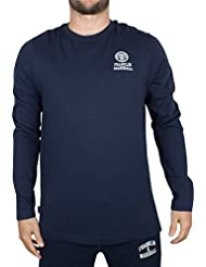 Franklin & Marshall Herren Longsleeved Kasten-Logo T-Shirt, Blau