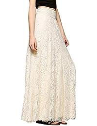 Gusspower Mujer Elegante Recta Larga Falda De Tutu De Tul Longitud Encaje  Boho Maxi Faldas De 854ea22430db