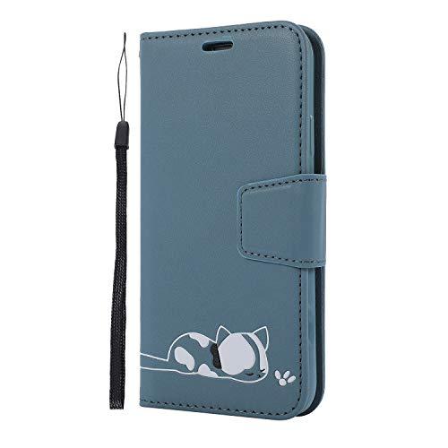 Portefeuille Etui pour Huawei P30 Lite,Miagon Chat Motif Coque Flip Case en PU Cuir Pochette à Rabat Slots de carts Protecteur Housse Étui,Bleu
