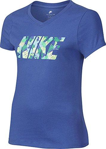 Nike Kinder Tee Palm T-Shirt, blau, M (Mädchen Nike Spandex Für)