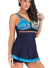 Bettydom Damen Onepiece Bademode V-Ausschnitt Rückenfrei Retro Butterfly  Schmetterlinge mit Hotpants Tankini Schwimmanzug 13cf18ce09