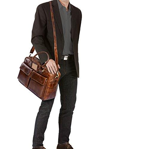 STILORD 'Carlo' Borsa da Ufficio in vera pelle Portadocumenti Piccola borsa da viaggio Valigetta 24 ore Cuoio Uomo Donna, Colore:ebano - marrone marrone antico