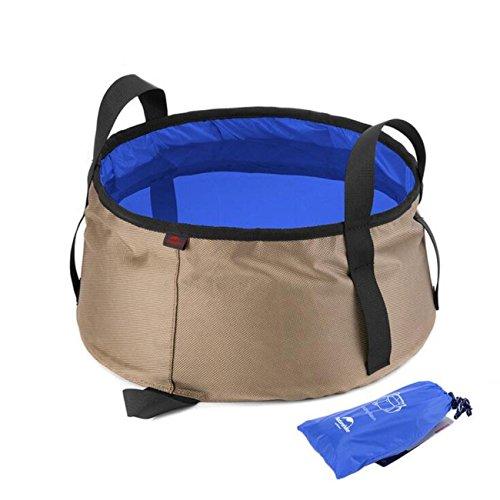 NH Folding Waschbecken Reisen im Freien Eimer tragbare Reise Folding Basin Footbath Footbath Can Be Hot Water Loaded , khaki with blue -