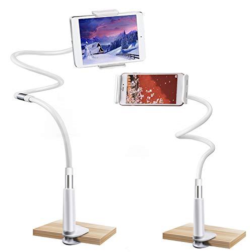 Soporte de Cuello de Cisne para Smartphone,Gifort Soporte para teléfono móvil,Tablet, Cuello de Cisne, Brazo Largo, Flexible, Soporte para Tablet(blanco plateado 120cm)
